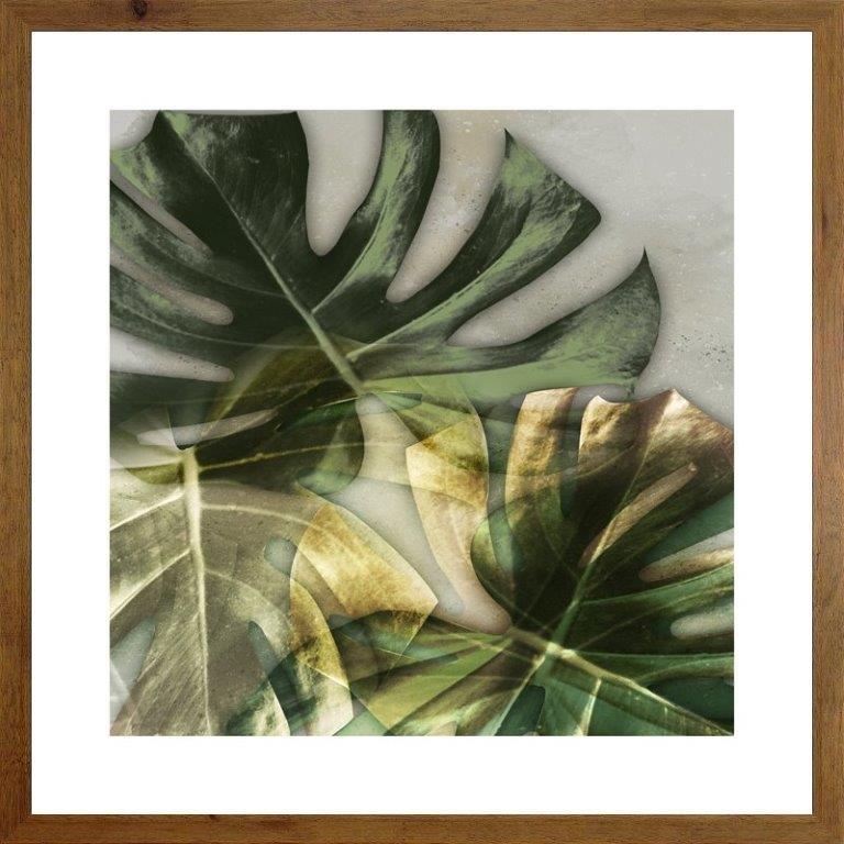 Quadro com Moldura Rústica Imagem Folha de Adão 70x70cm