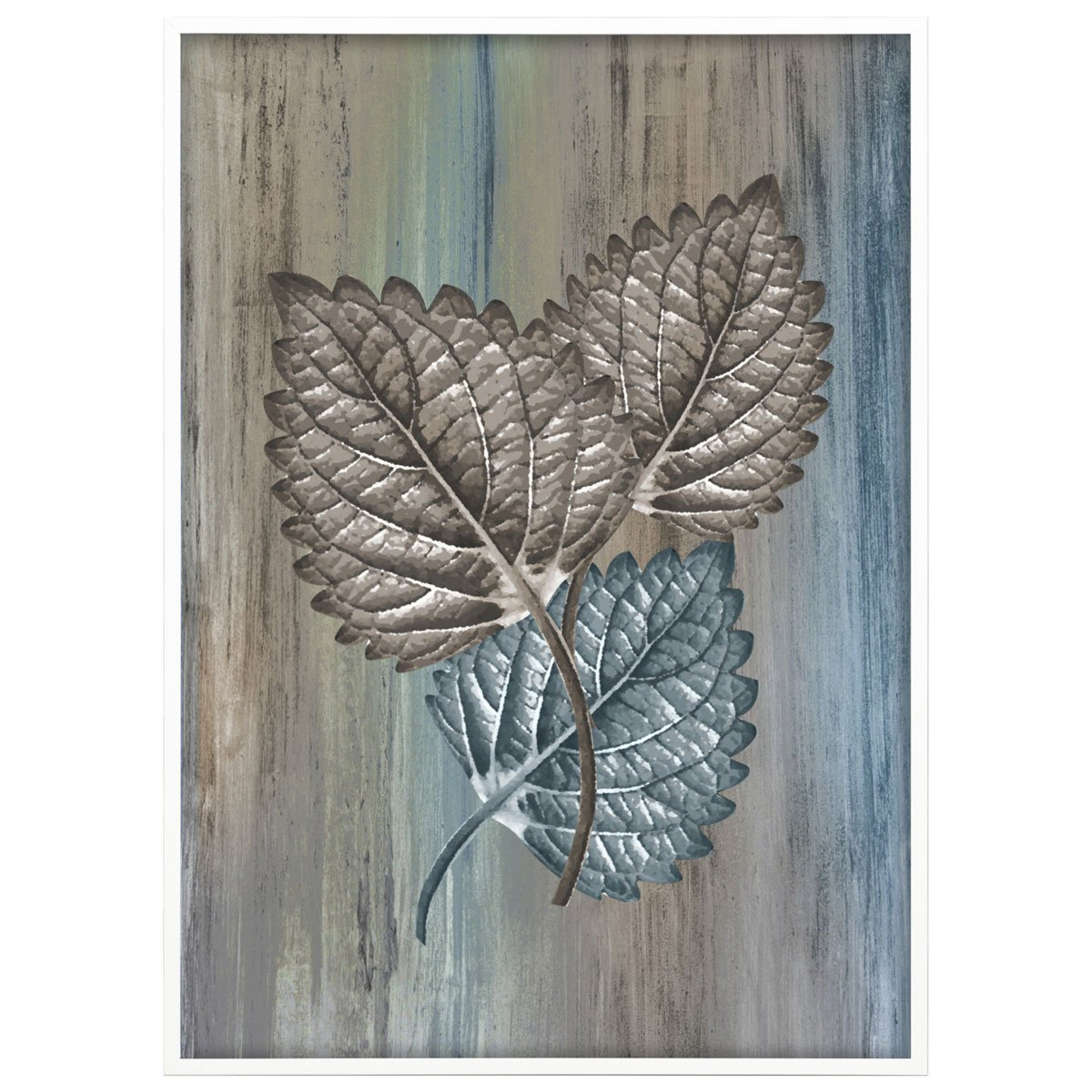 Quadro de Folhas Fundo Abstrato em Tons Terrosos 50x70 cm