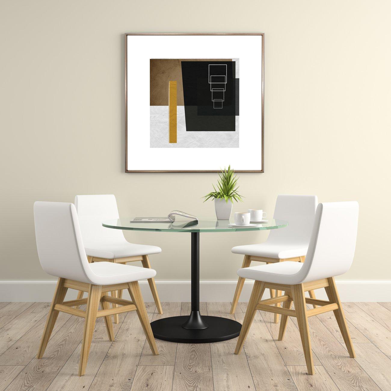 Ambiente com Quadro Decorativo Abstrato Bronze Geométrico Quadrados