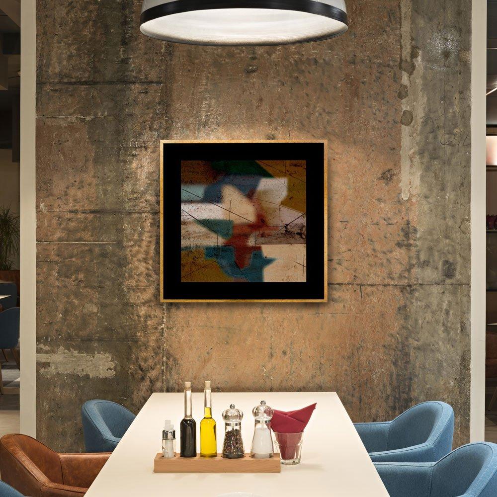 Quadro Decorativo com Moldura Dourada Abstrato Colorido II 90x90cm