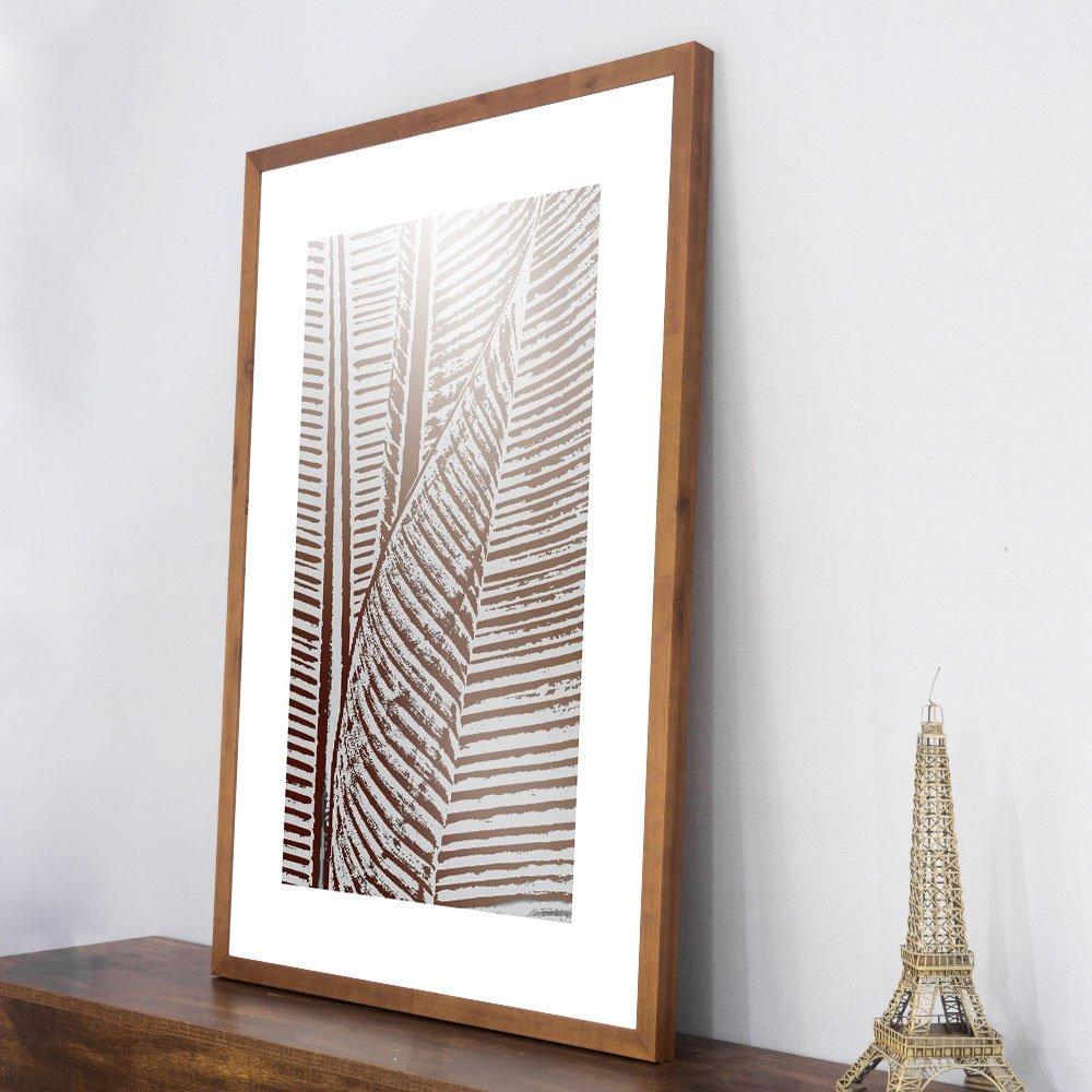 Quadro Decorativo com Moldura Rústica Arte Folha de Bananeira