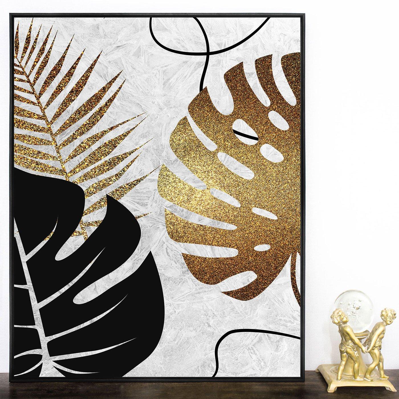 Quadro Decorativo de Folhas Tela Canvas com Moldura 70x90 cm