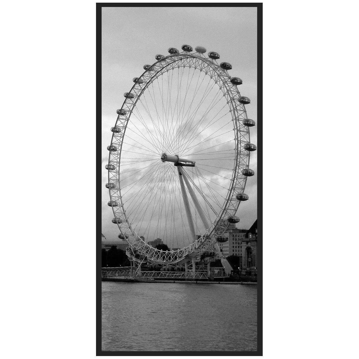 Quadro Decorativo em Preto e Branco London Eye Londres 70x140cm