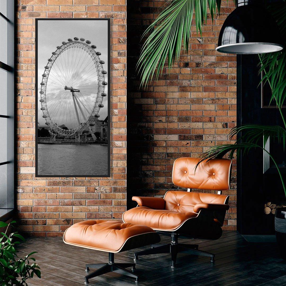 Quadro decorativo London Eye em preto e branco.