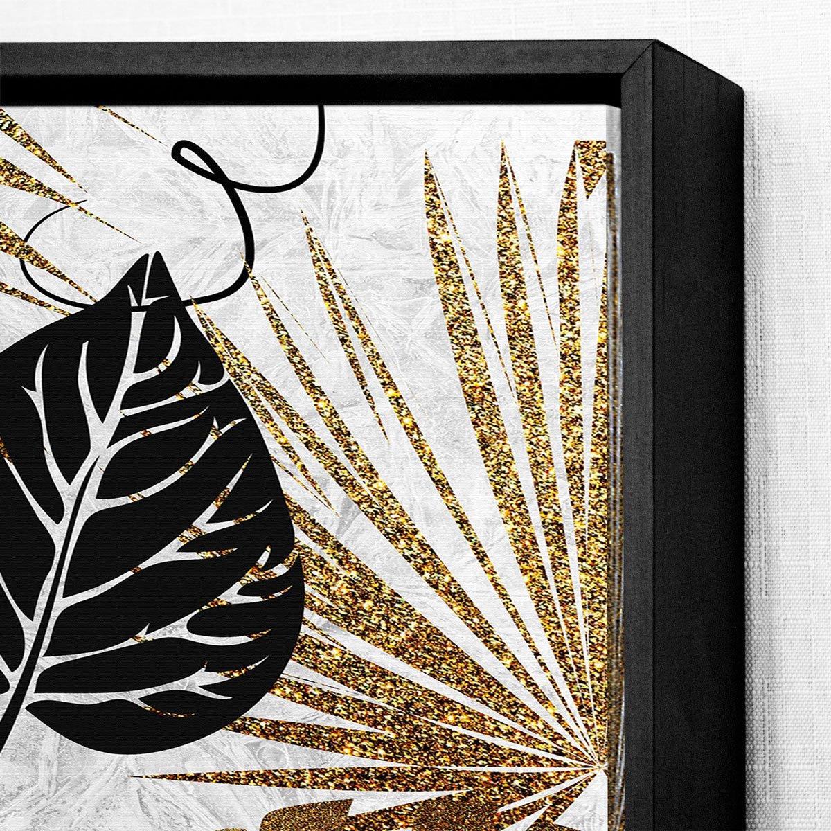 Quadro Decorativo Folhagens Tela Canvas com Moldura 70x90 cm