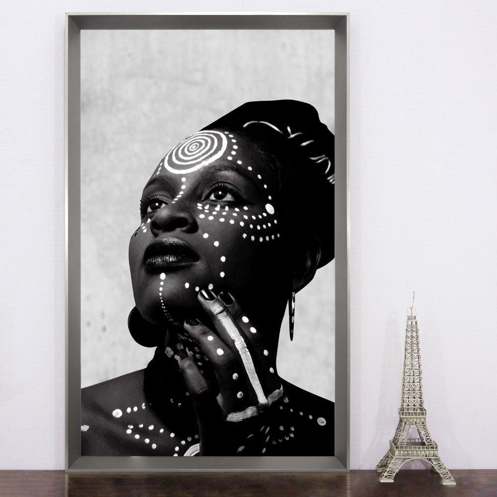 Quadro decorativo em preto e branco, Arte Africana - Série Deusa do Ébano.