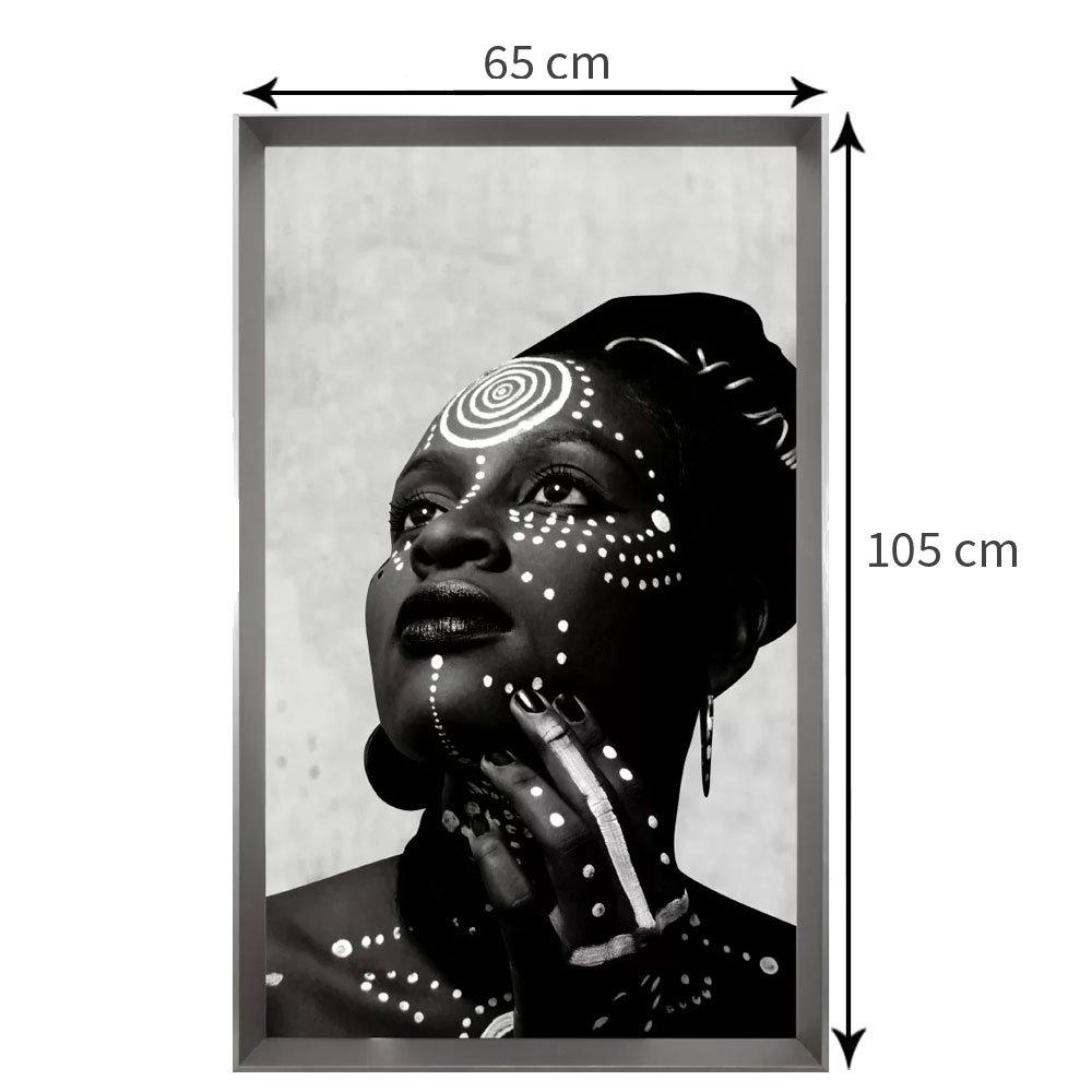 Quadro Decorativo Mulher Africana Série Deusa do Ébano 65x105 cm