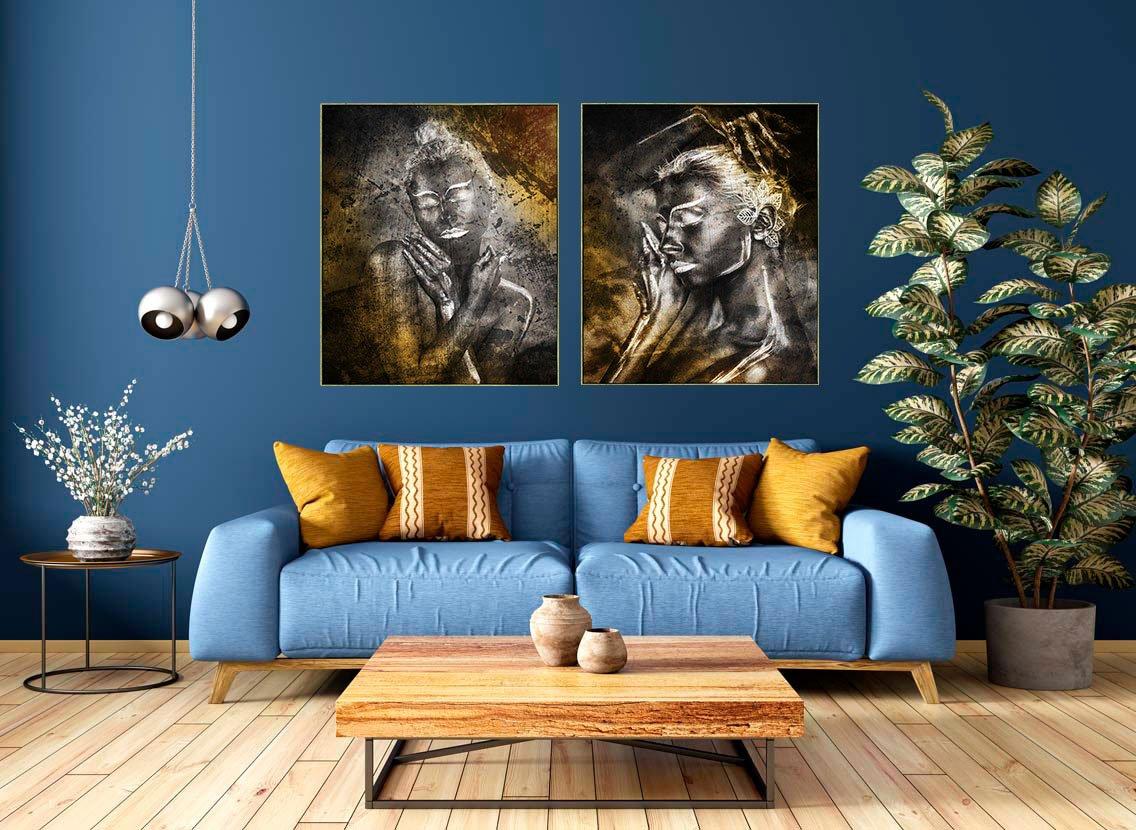 Quadro Decorativo Mulher Tela Canvas com Moldura 100x120 cm