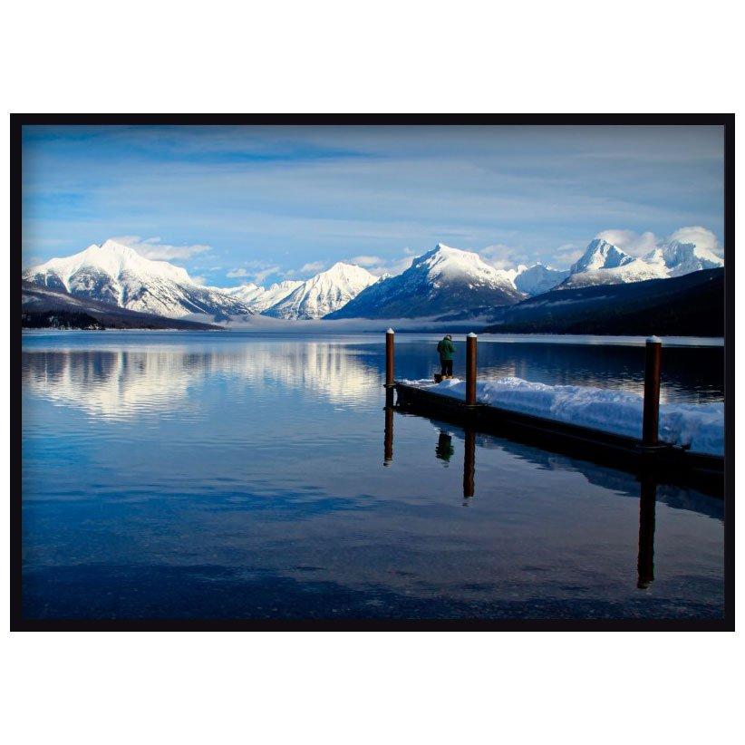 Quadro Decorativo Paisagem Lago Montanhas Neve 140x100cm