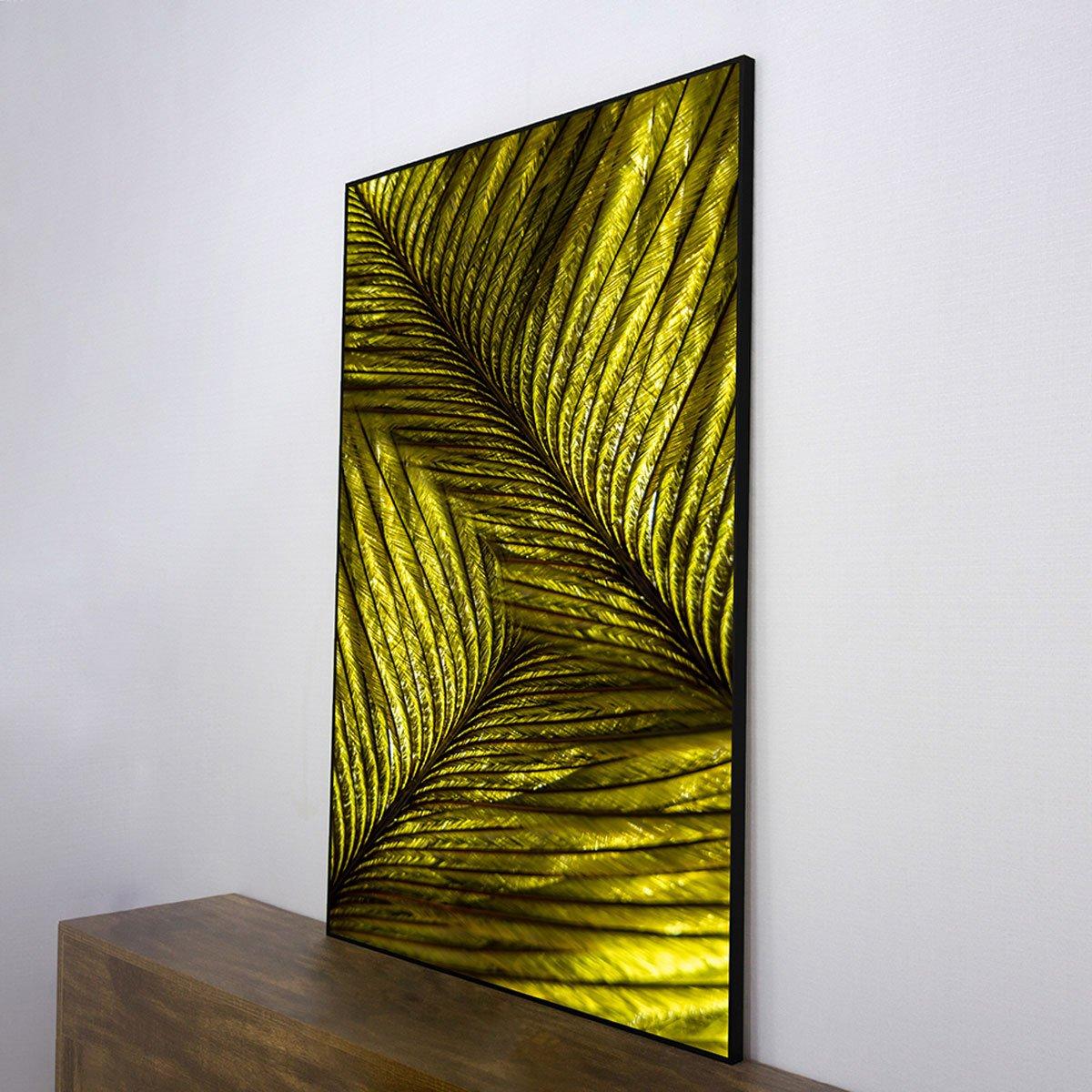 Quadro Decorativo Pena Verde com Moldura Preta 80x120