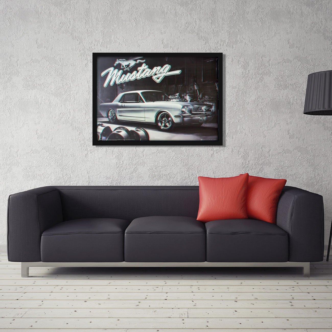 Quadro Decorativo Poster 3D Ford Mustang Prata 1966 - 70x50cm