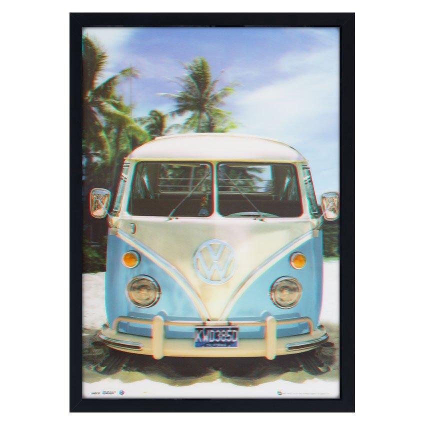 534291c88 Quadro Decorativo Poster 3D Kombi Azul e Branca Antiga na Praia 50x70cm ...