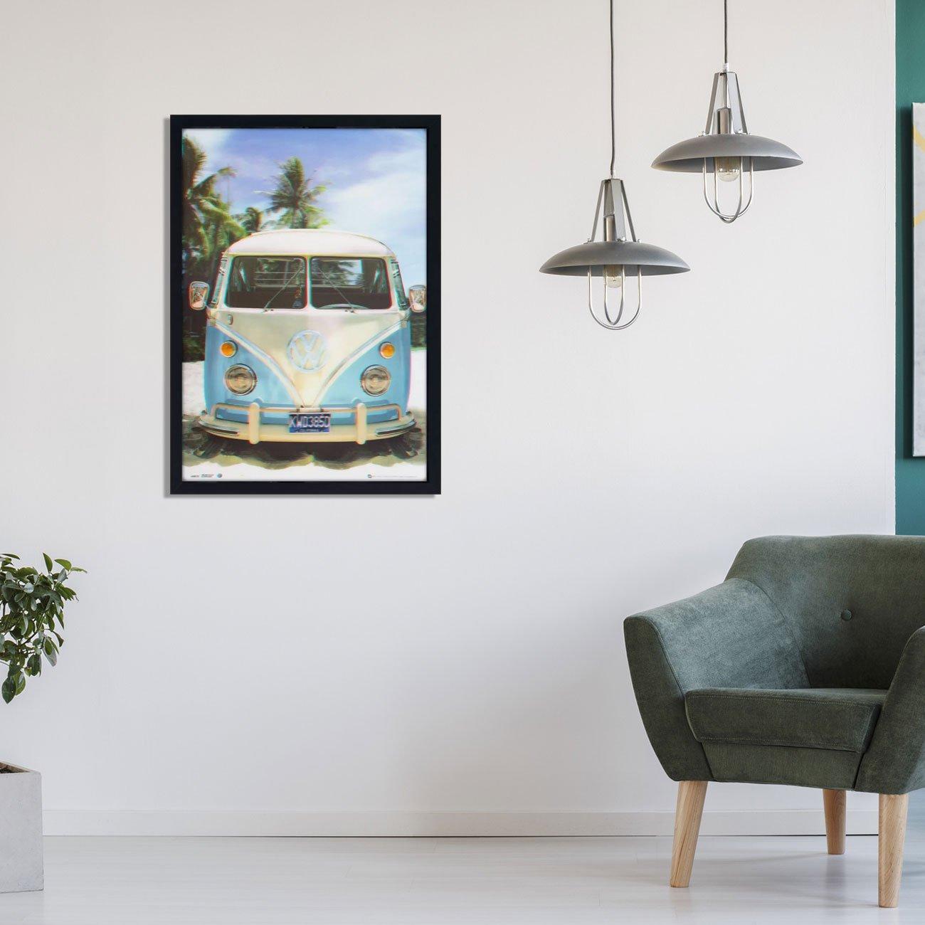 Quadro Decorativo Poster 3D Kombi Azul e Branca Antiga na Praia 50x70cm