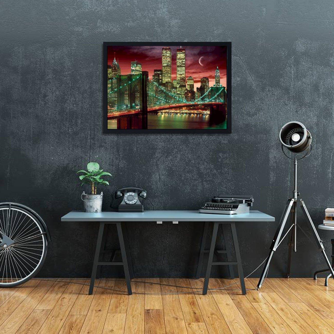 Quadro Decorativo Poster 3D Ponte Manhattan New York Noite 70x50cm