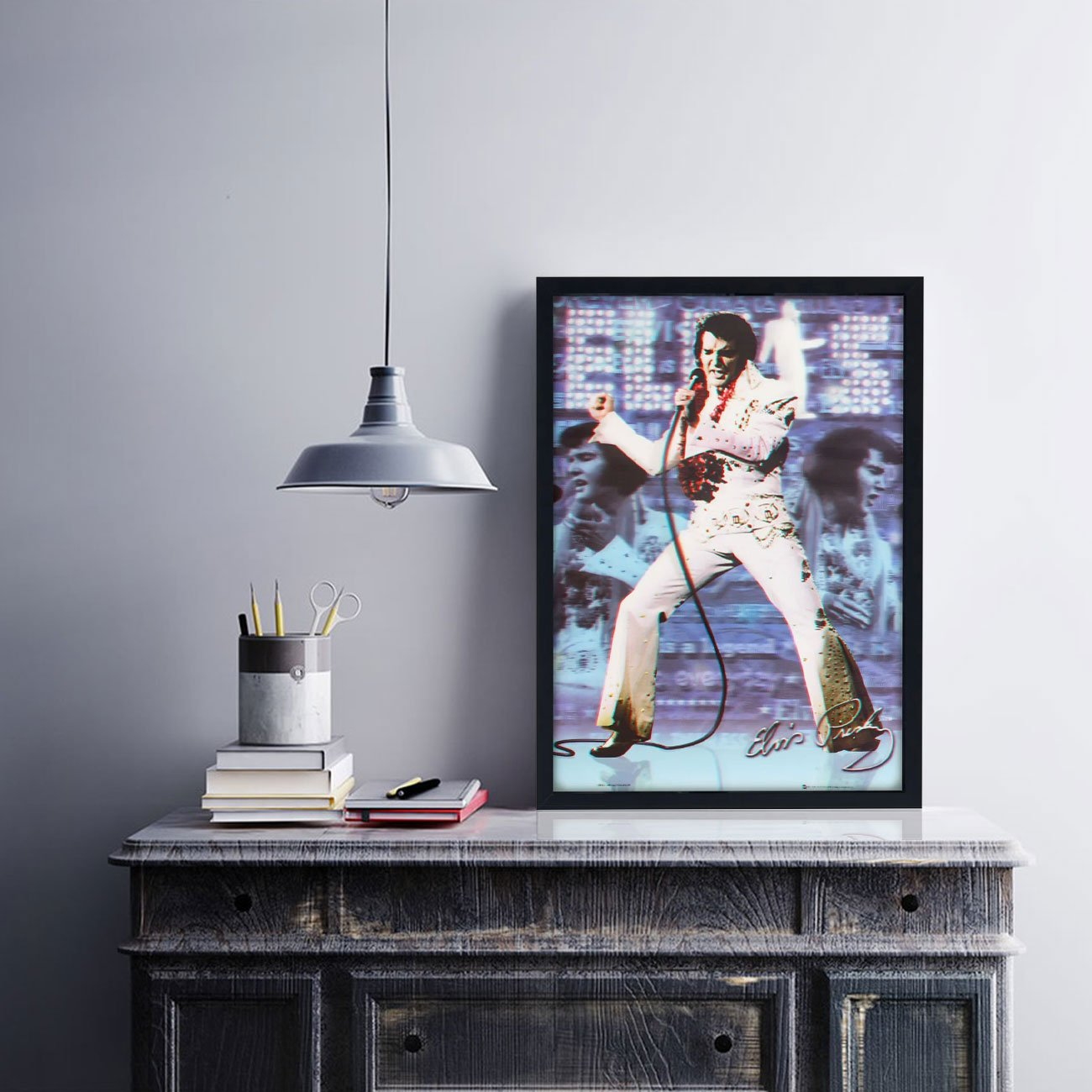 Quadro Decorativo Poster 3D Show Elvis Presley 50x70cm