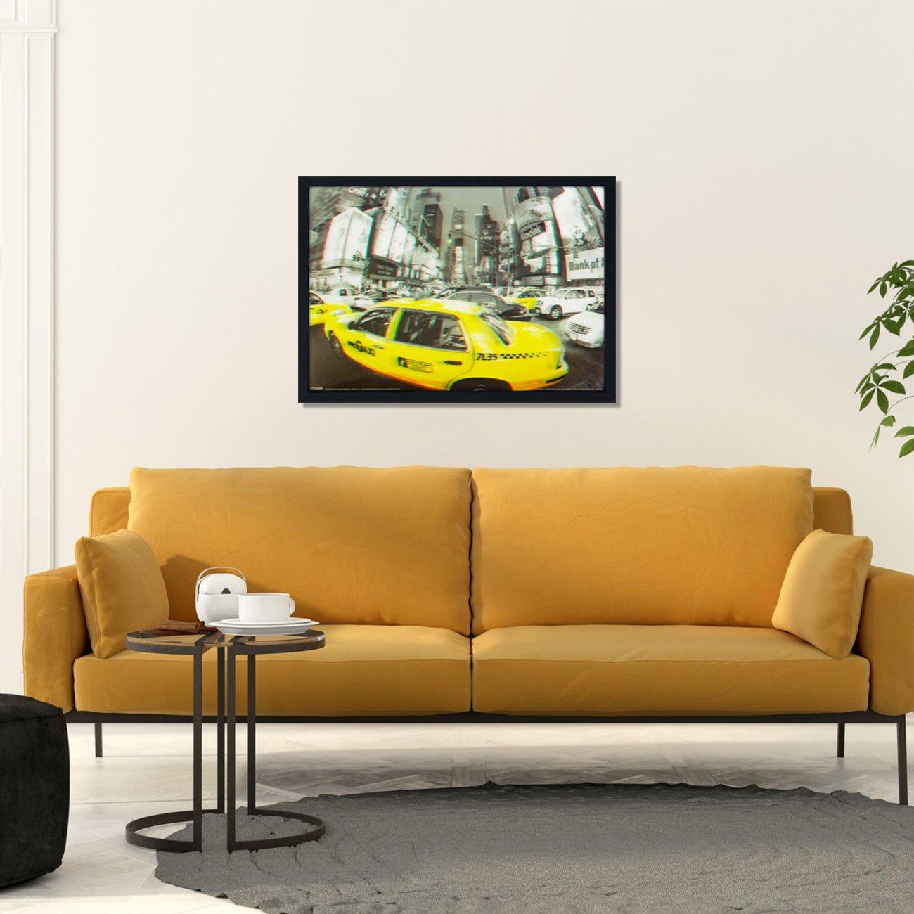 Quadro Decorativo Poster 3D Táxi Amarelo de Nova York 70x50cm