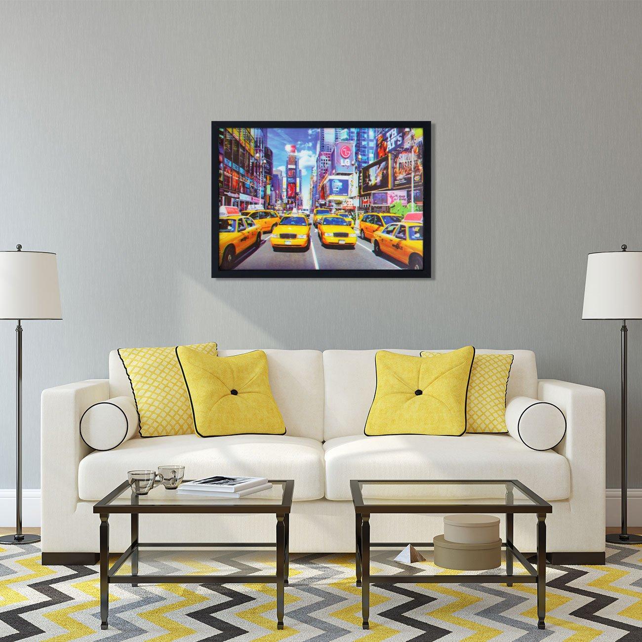 Quadro Decorativo Poster 3D Táxis Amarelos de Nova York 70x50cm