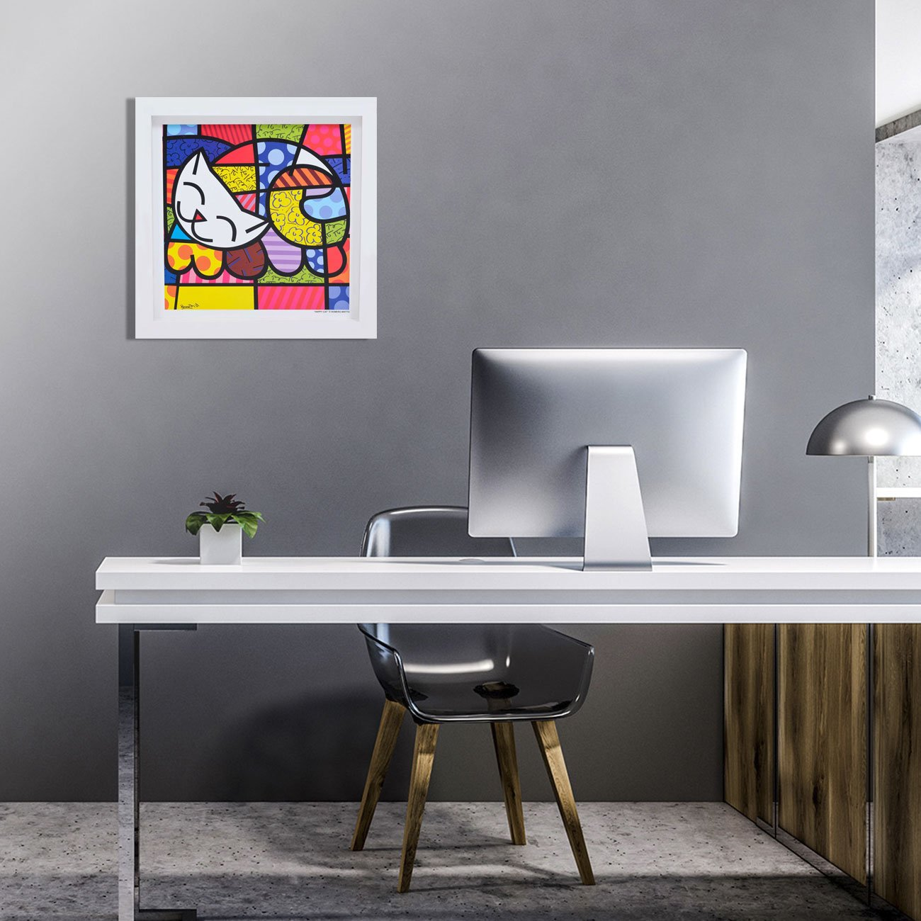 Quadro Romero Britto com gravura original Happy Cat.