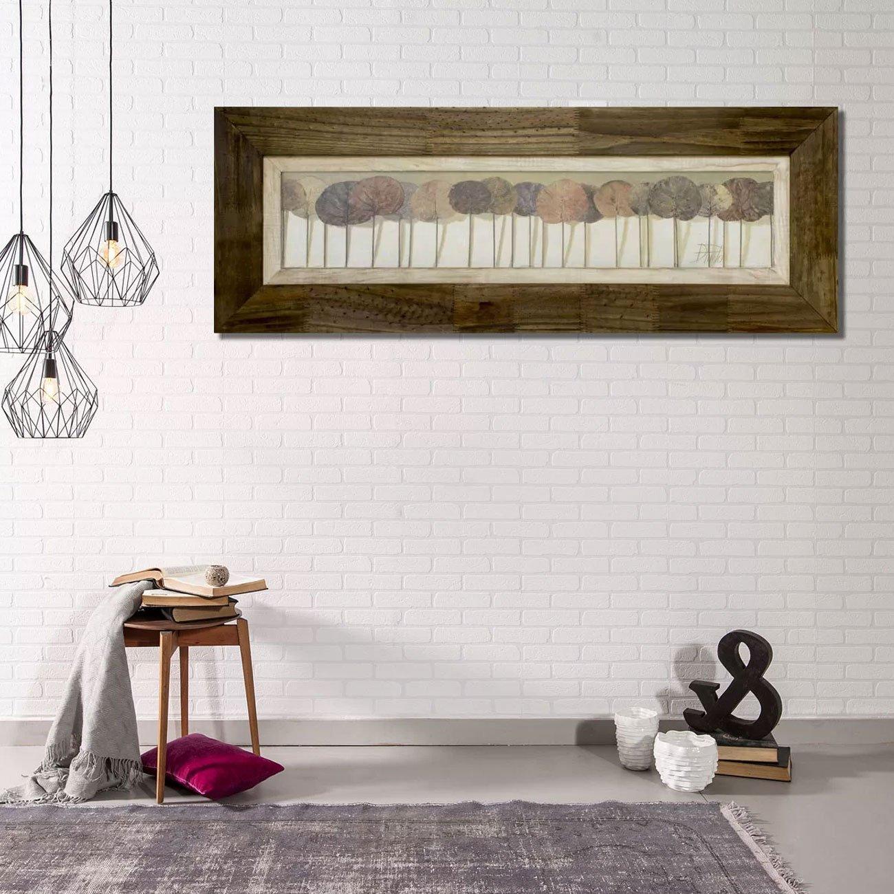 Quadro Decorativo Estilo Rústico Folhas Leaves Show 110x40cm