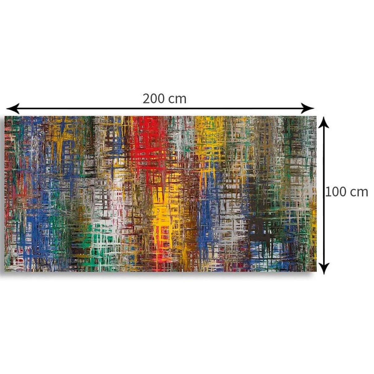Quadro Decorativo Tela Abstrata Malhas Coloridas 200x100cm