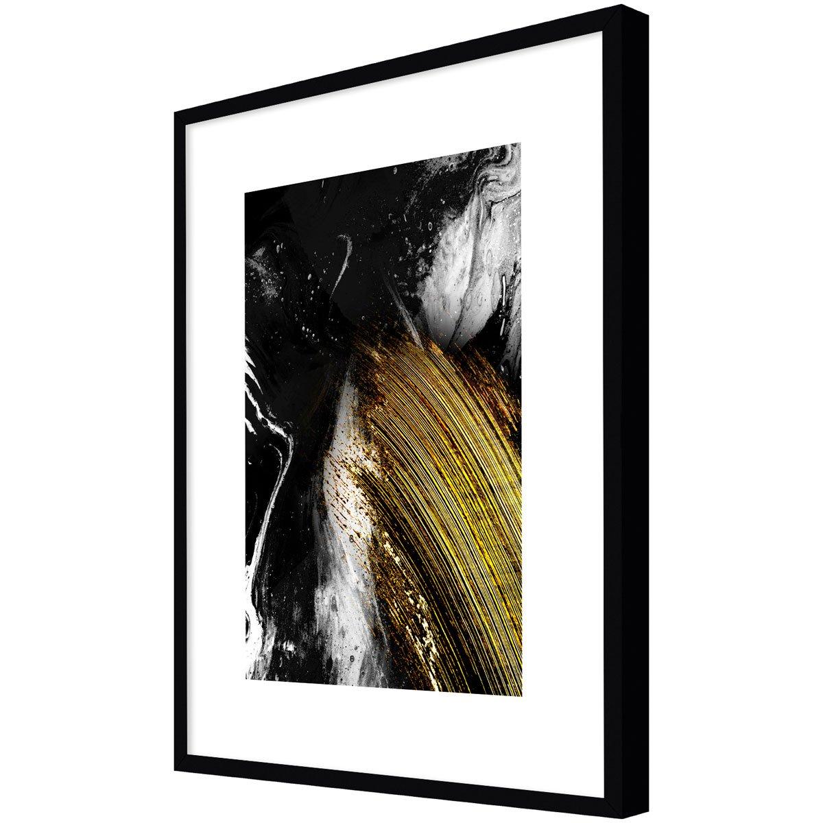 Quadro Desenho Abstrato Decór Preto Branco e Dourado 90x120cm