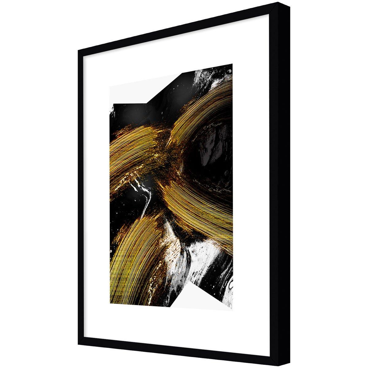 Quadro Desenho Abstrato Decor Preto e Dourado 90x120cm