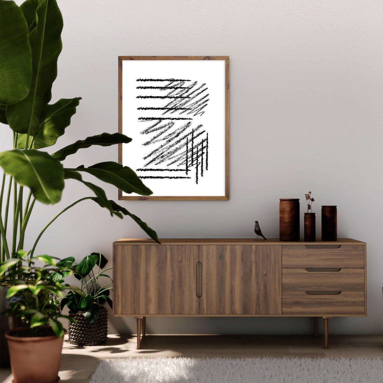 Quadro Desenho Abstrato Decorativo Riscos de Giz