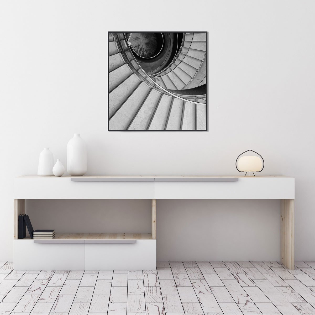 Quadro Escada Espiral em Preto e Branco por Dorival Moreira 50x50 cm