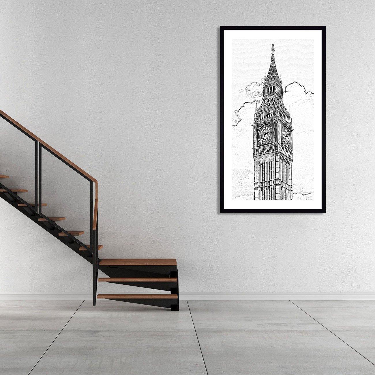 Quadro em Preto e Branco Fotocópia Torre BIG BEN 60x100 cm