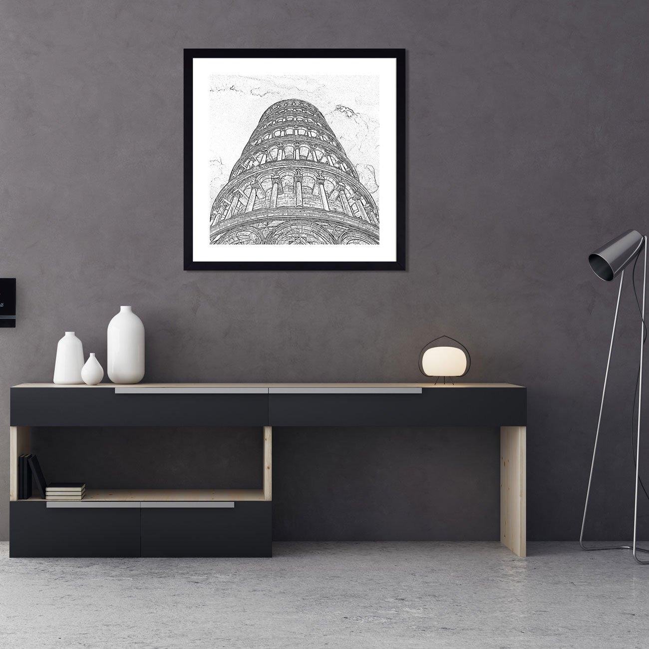 Quadro em Preto e Branco Fotocópia Torre de Pisa 60x60 cm