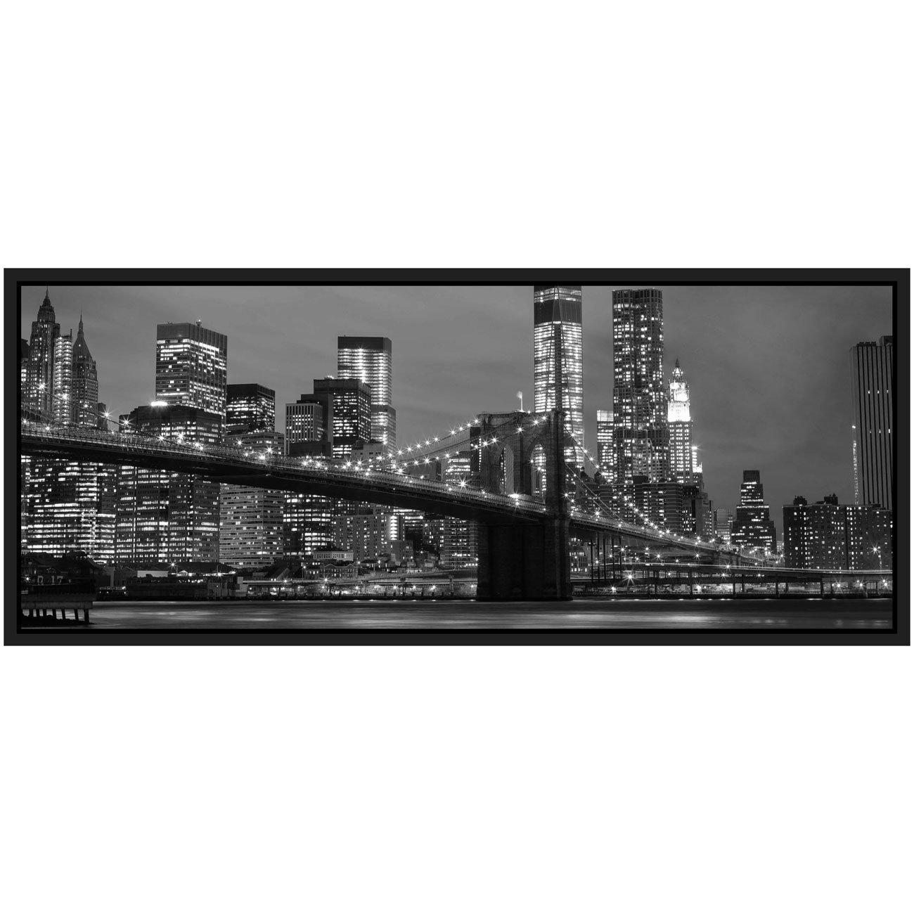Quadro Panorâmico Ponte Brooklyn New York 120x50cm Preto e Branco