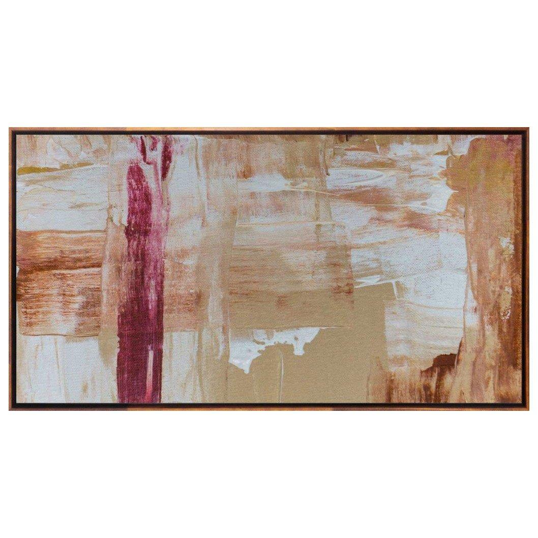 Quadro em Tela Canvas Abstrata com Moldura Cor Mel 160x90cm