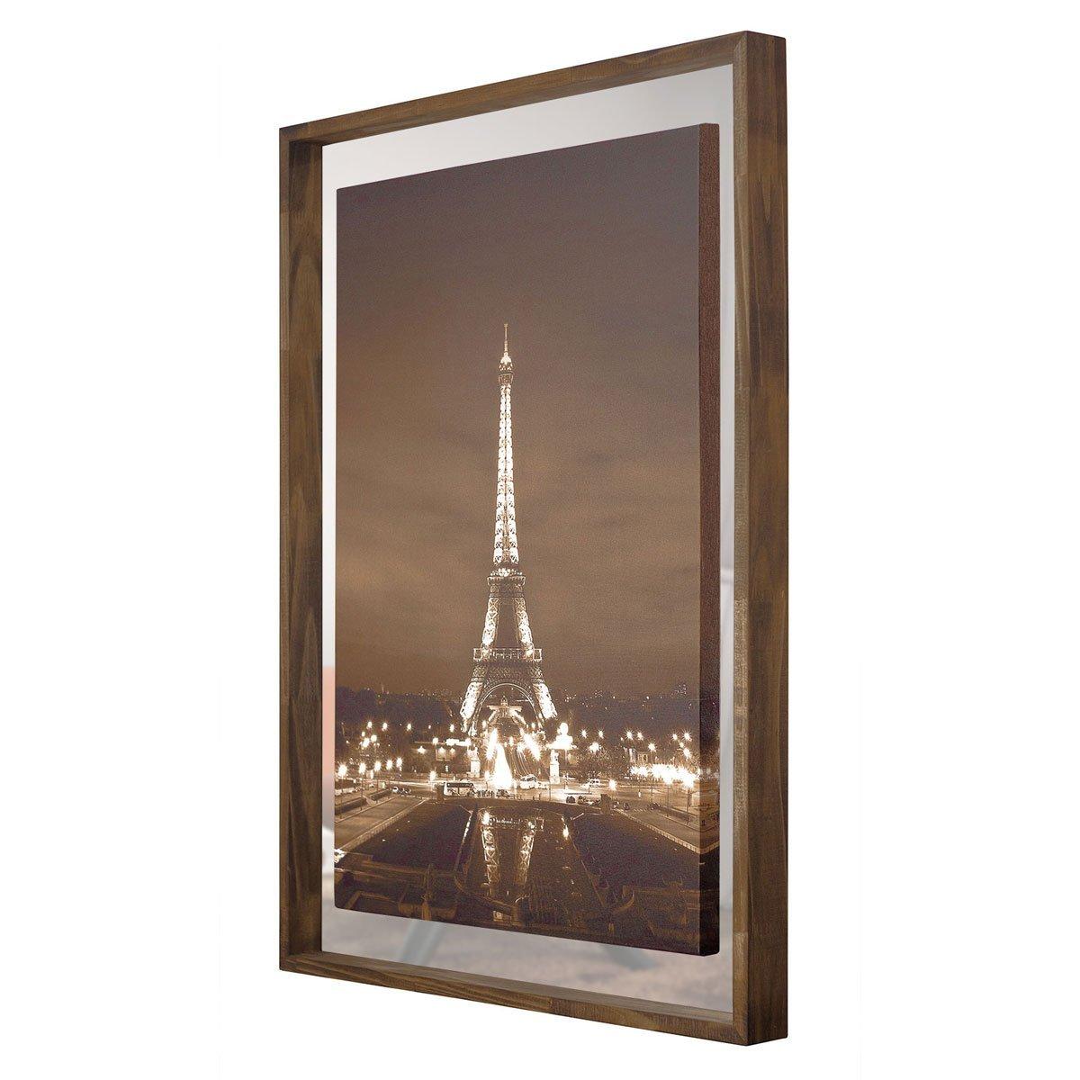 Quadro em Tela Torre Eiffel Com Espelho e Moldura Rústica