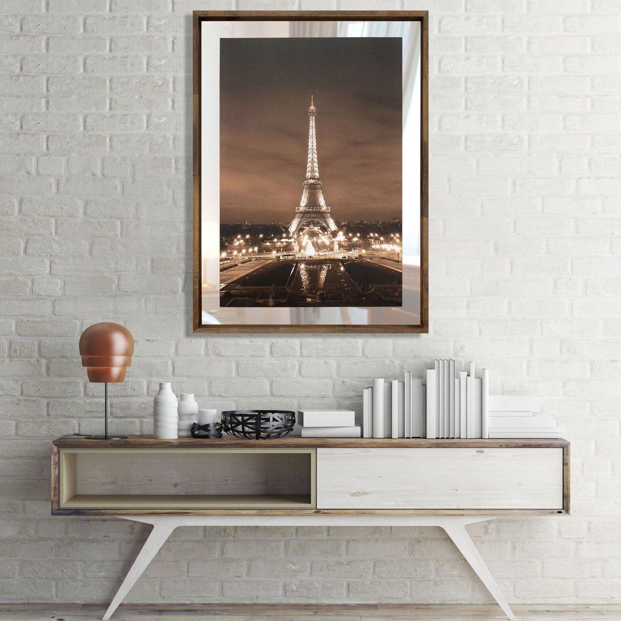 Quadro em Tela Torre Eiffel Com Espelho e Moldura Rústica 80x110cm