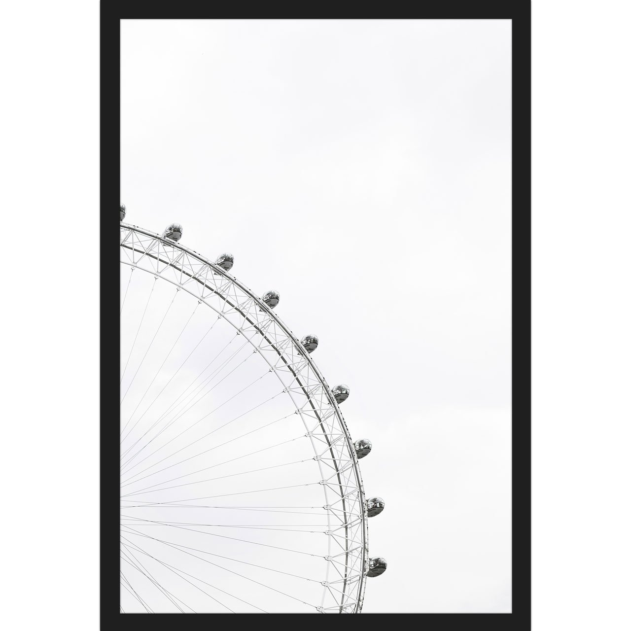Quadro Escandinavo Com Moldura Preta London Eye 40x60cm Decore