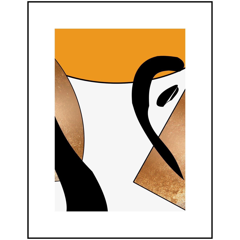 Quadro Geométrico Desenho Amarelo, Dourado e Preto 70x90 cm