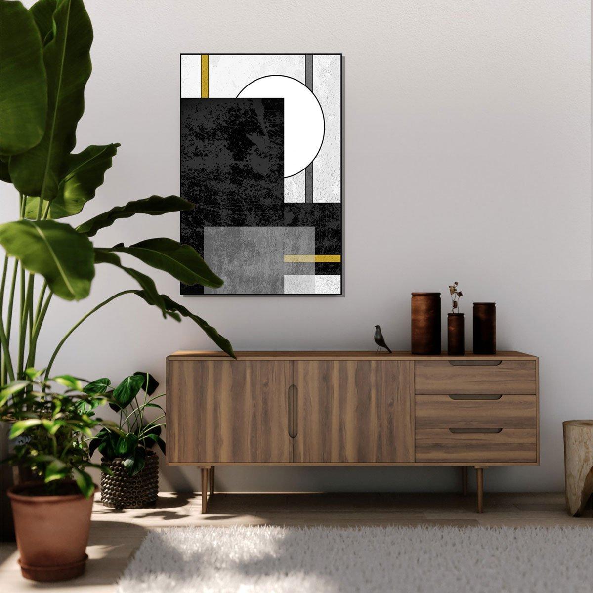 Quadro Geométrico Texturas Preto e Branca e Amarelas 60x90 cm