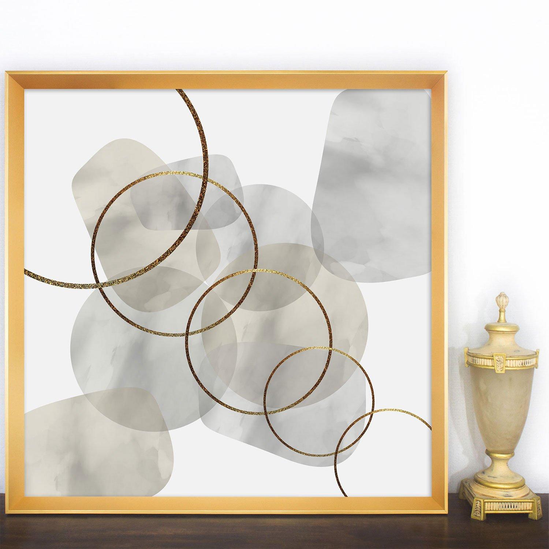 Quadro Grande Abstrato Moderno com Moldura Dourada 95x95 cm