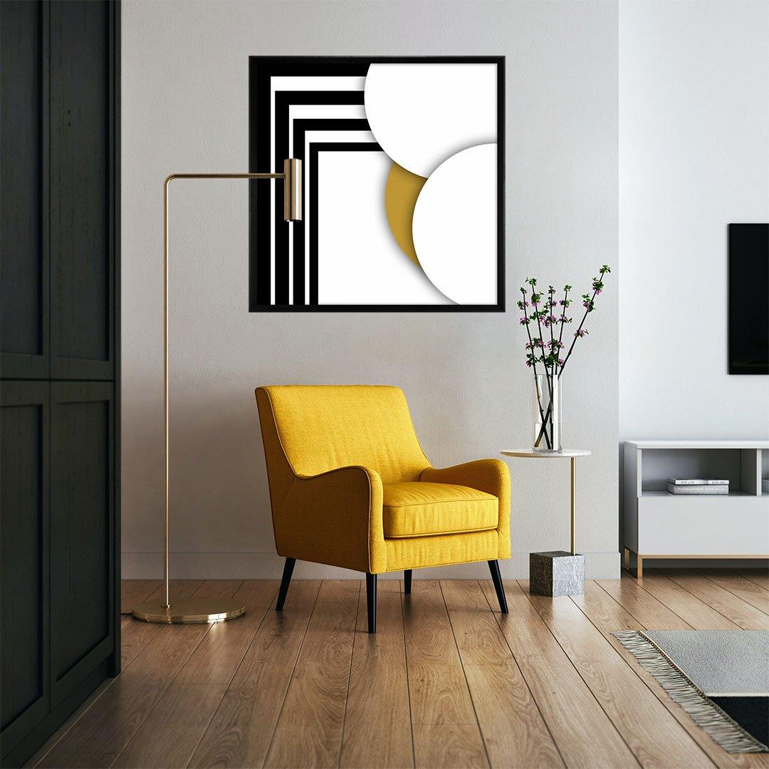 Quadro Grande Moderno com Moldura Chanfrada Arte Geométrica 95x95 cm