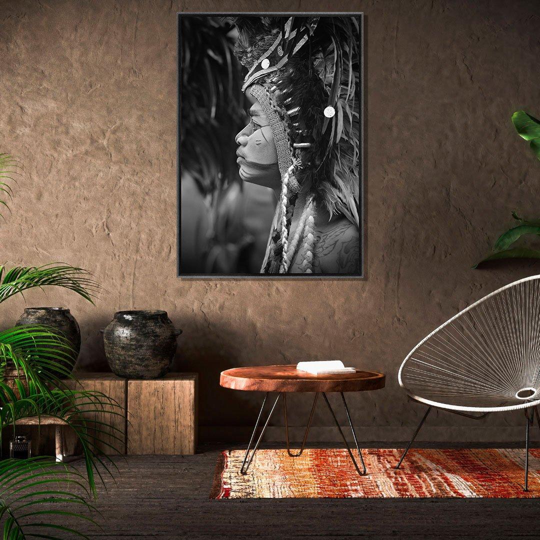 Quadro Indígena Tela Canvas com Moldura Preta 90x130 cm