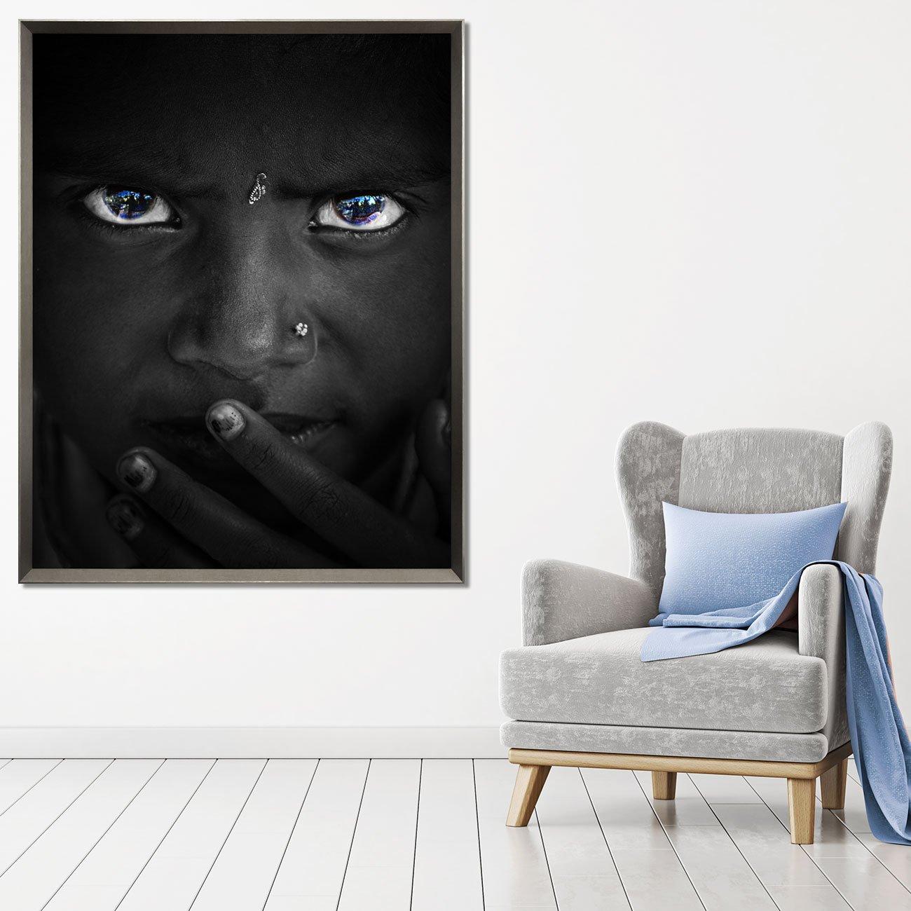 Quadro Menina Africana Retrato em Preto e Branco 115x145 cm