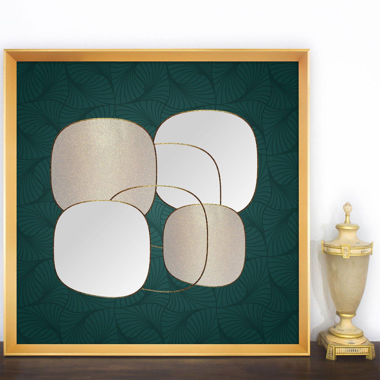 Quadro Moderno com Fundo Verde Abstrato e Moldura Dourada 95x95 cm