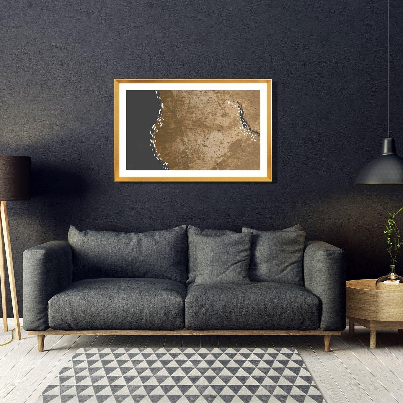 Quadro Moderno com Moldura Dourada Imagem Abstrata 115x75 cm