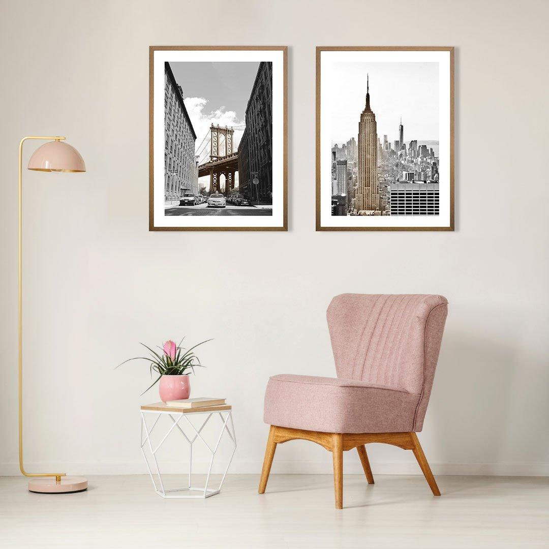 Quadro Moderno com Moldura Natural Ponte de Manhattan 60x80 cm