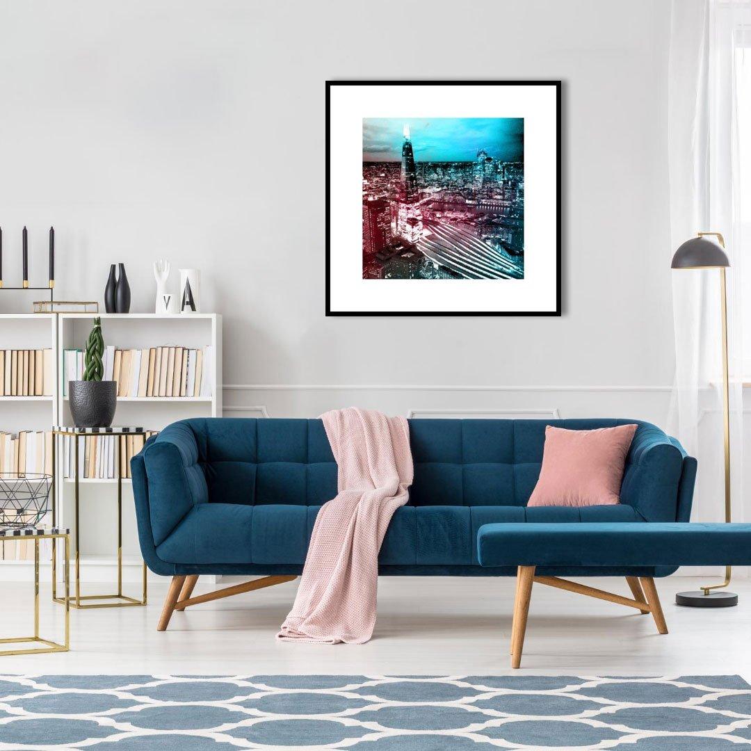 Quadro Moderno Urbano Arranha-céu Shard London Bridge 70x70 cm