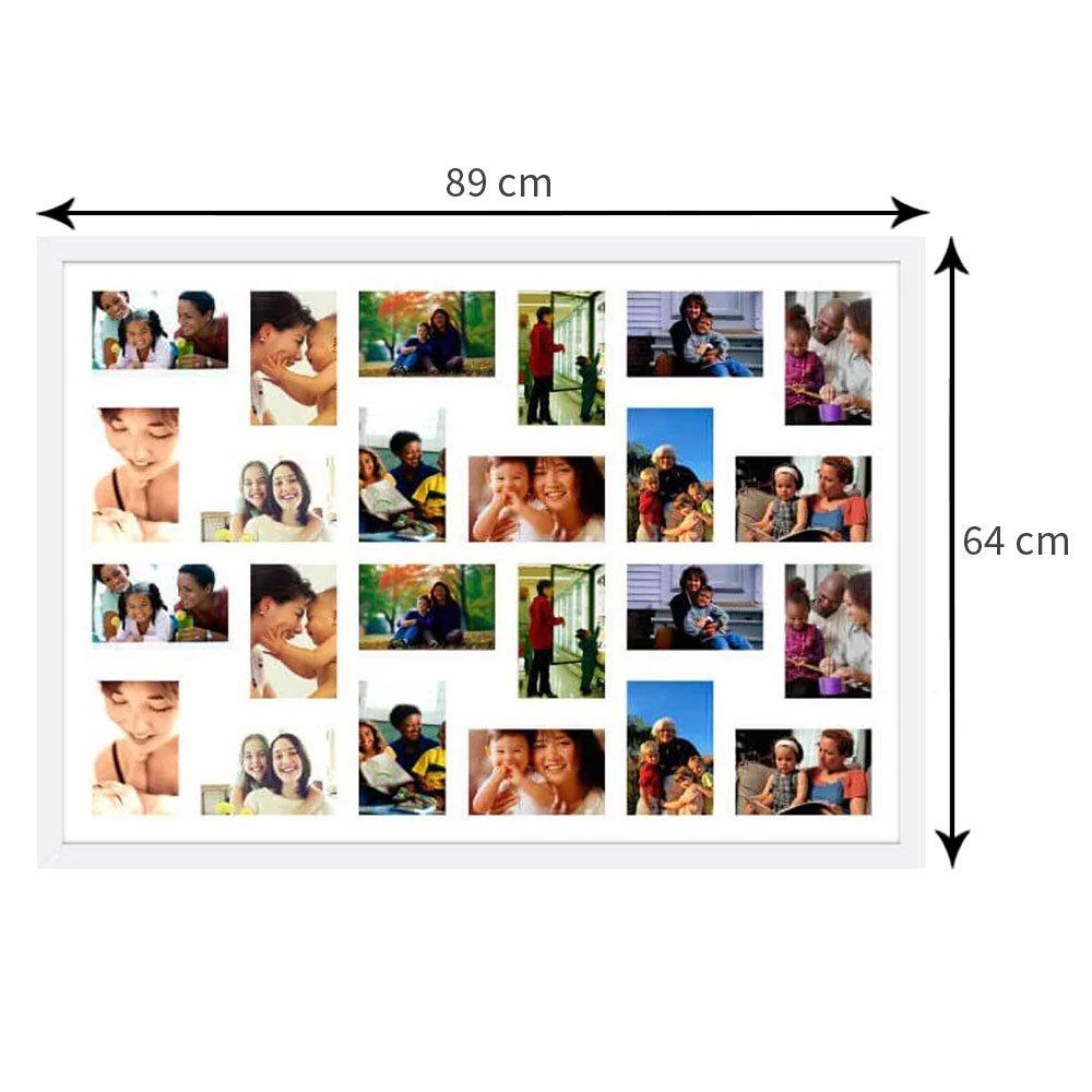 Quadro Painel de Fotos para 24 Fotografias de 10x15 cm - 90x60 cm Branco