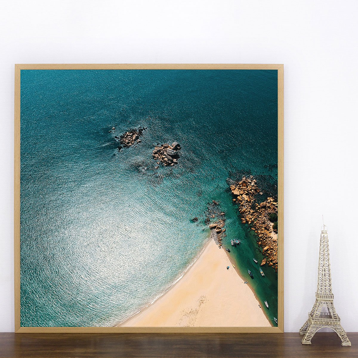 Quadro Paisagem Mar Foto Aérea Praia 90x90 cm com Moldura