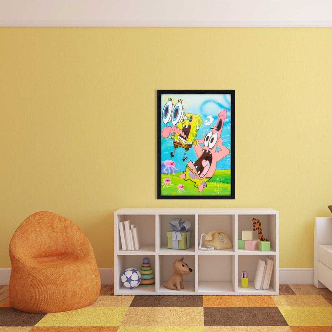 Quadro Poster 3D Bob Esponja Calça Quadrada e Patrick 50x70cm