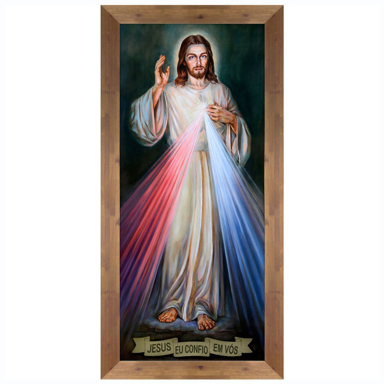 Quadro Religioso Jesus Cristo Eu Confio em Vós 60x130 cm