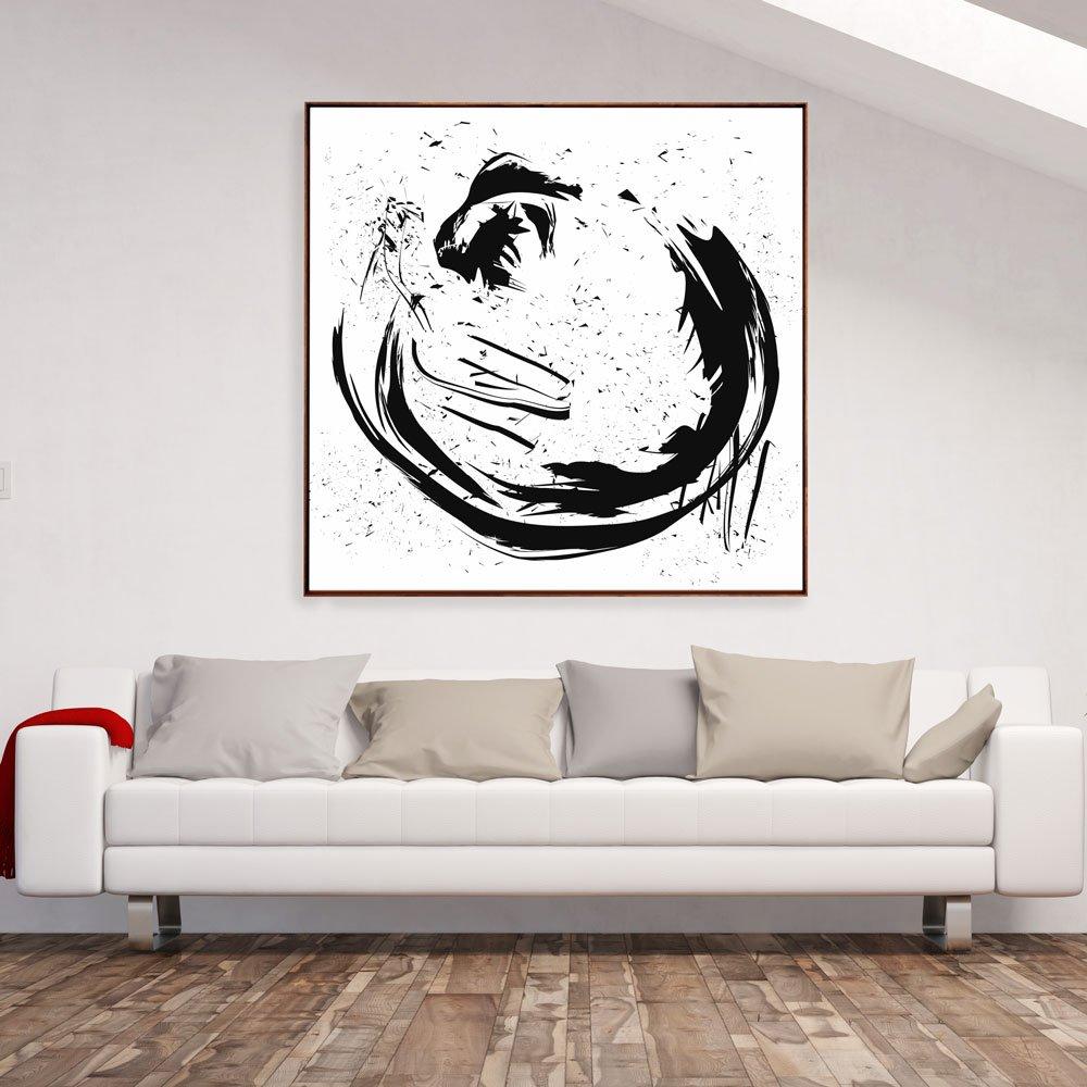 Tela Canvas abstrata com moldura flutuante.